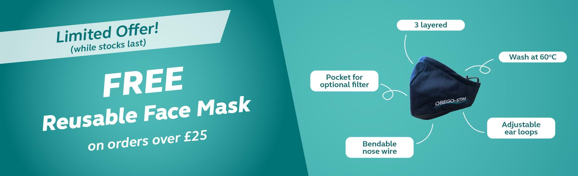 Free reusable mask on orders over £25